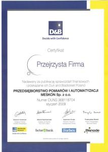 Certyfikat Przejrzysta Firma Meskon